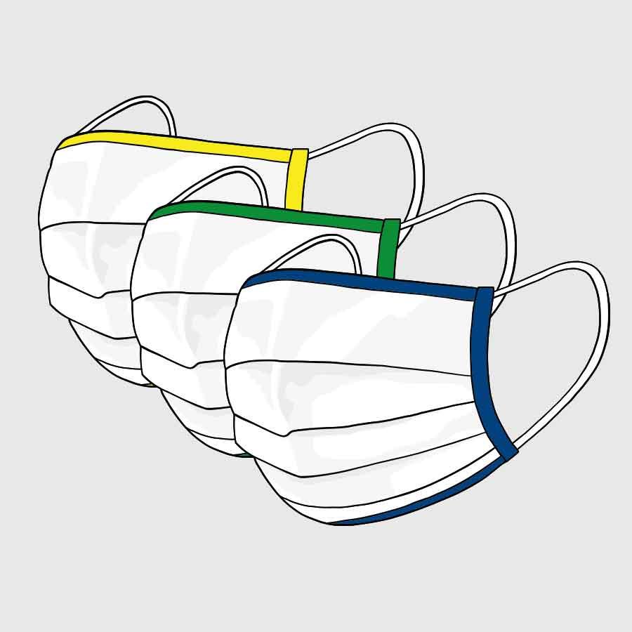 Community-Maske - mit Gummi - mit farbiger Einfassung